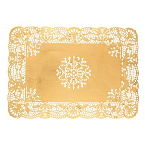 "Simcha Collection Oblong Doily Gold 10 X 14.5"" Blue Sky"