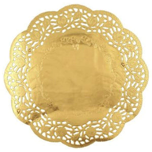 "Simcha Collection Round Gold Doily 8.5"" Blue Sky"