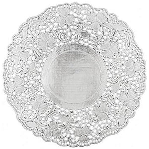 "Simcha Collection Round Silver Doily 8.5"" Blue Sky"