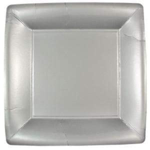 "Solid Silver Square Dinner Paper Plates 10"" Lillian"