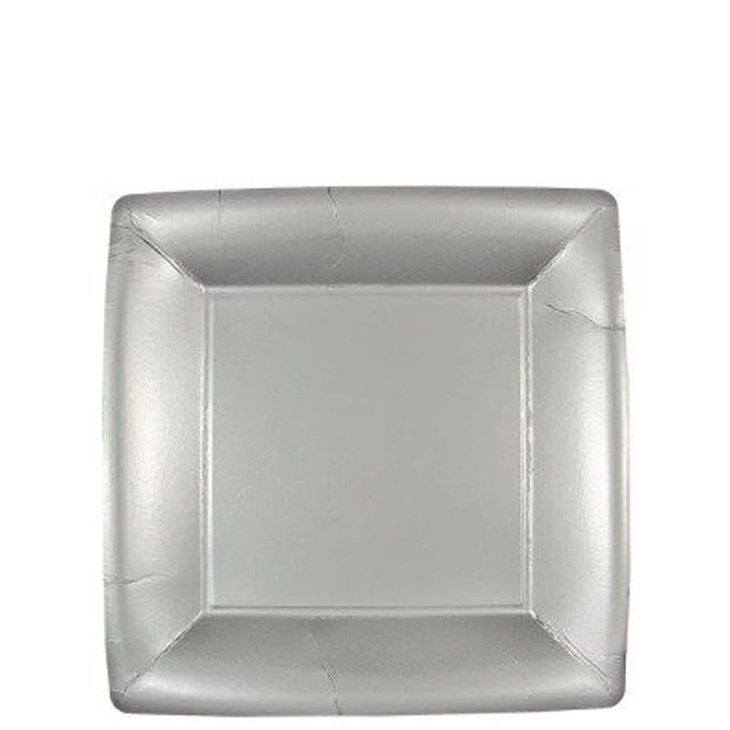 Solid Silver Square Paper Plates 7
