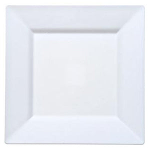 "White Square Plastic Dinner Plates 10.75"" 10Ct Lillian"