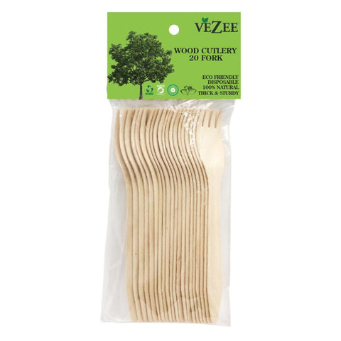 VEZEE BIRCHWOOD CUTLERY FORKS 20CT