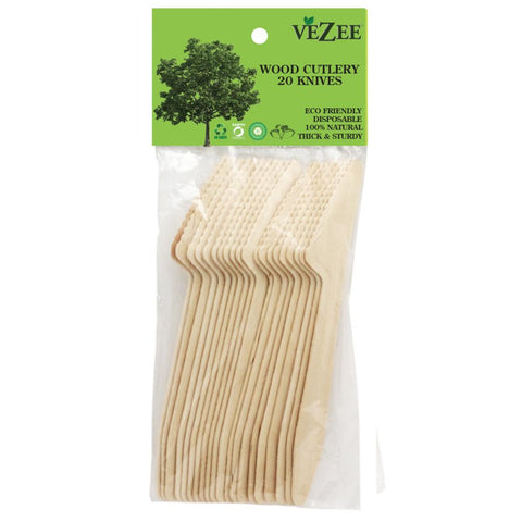 VEZEE BIRCHWOOD CUTLERY KNIVES 20CT