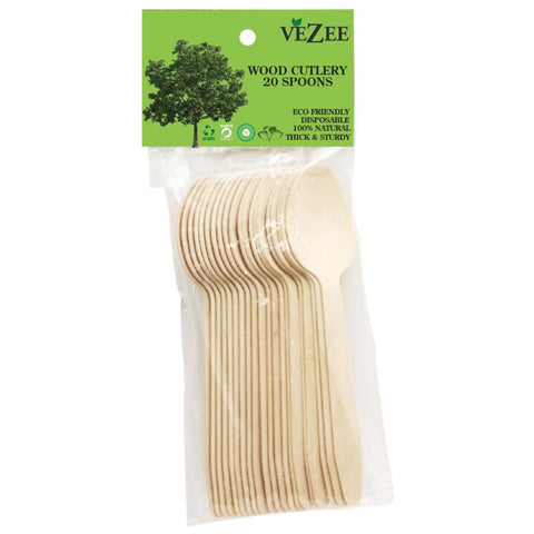 VEZEE BIRCHWOOD CUTLERY SPOONS 20CT