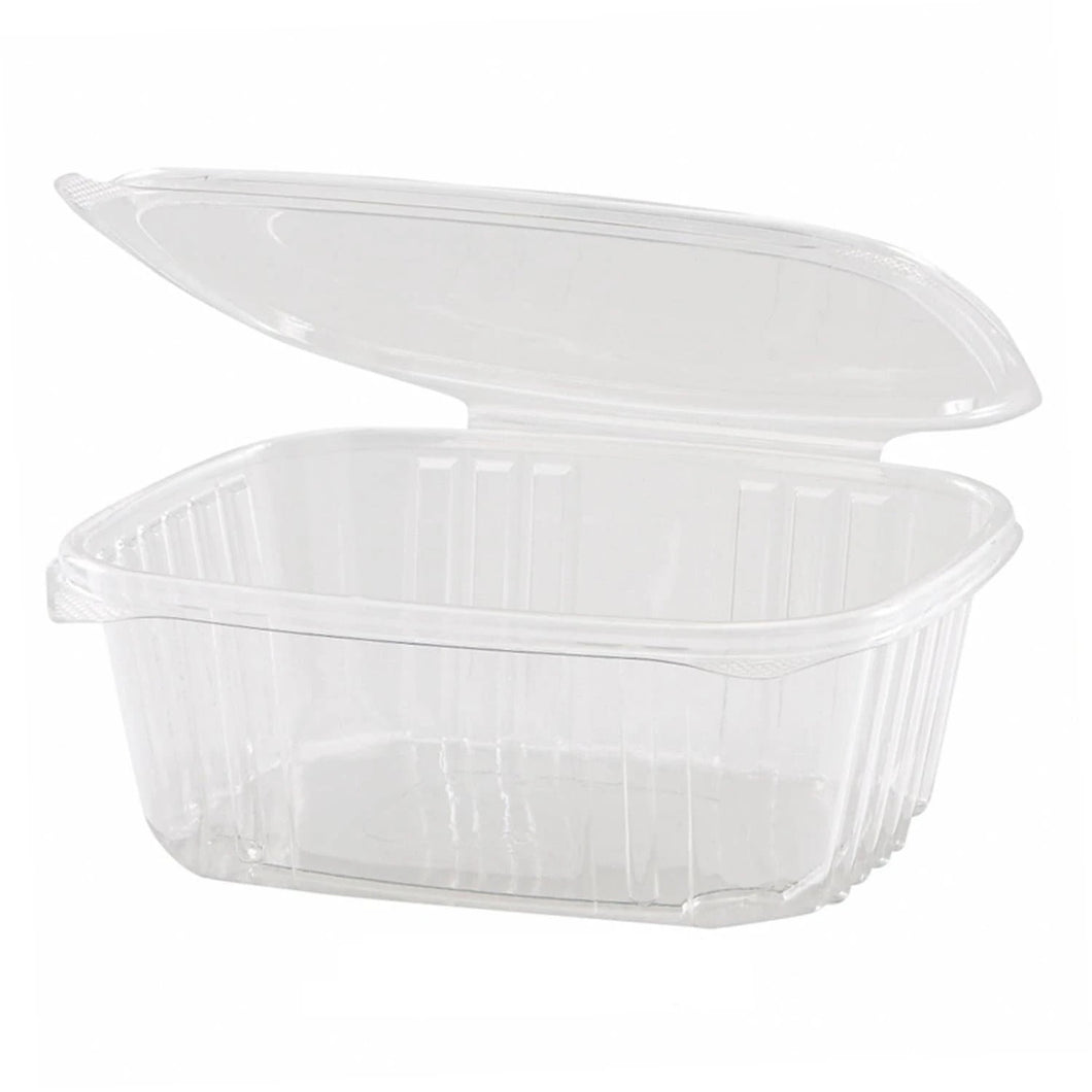 32 oz Rectangle Clear Heavy Duty Plastic Hinged Deli Container with Flat Lid