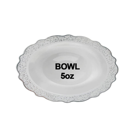 "Confetti Collections Soup Bowls White Silver 5"" 10Ct - OnlyOneStopShop"
