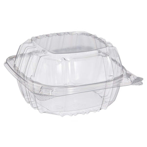 "Dart C57PST1 Clear 6""x6"" Seal Hinged-Lid Plastic Containers Take-out Container For Cake, Sandwich"
