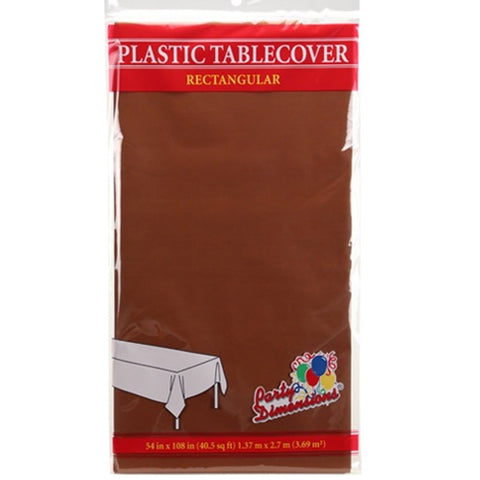 Tablecover Plastic Chestnut Rectangular  54'' X 108''