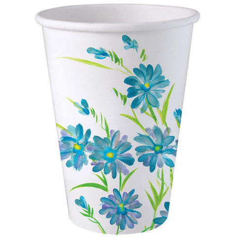 Paper Cup Hot Cold Cup Blue Floral 12 oz 24Ct
