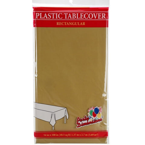 Tablecover Plastic Gold Rectangular  54'' X 108''