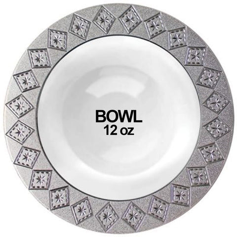 Imperial Collection Crushed Plastic Soup Bowl White Silver 12 oz