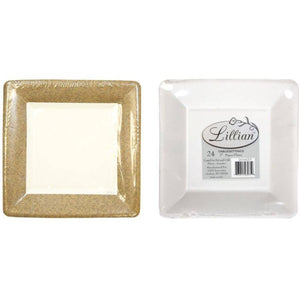 Lillian Tablesettings Texture Square Dinner Paper Plates Gold 7""
