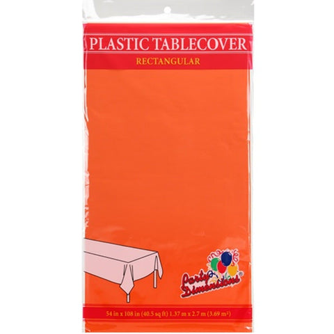 Tablecover Plastic Orange Rectangular  54'' X 108''