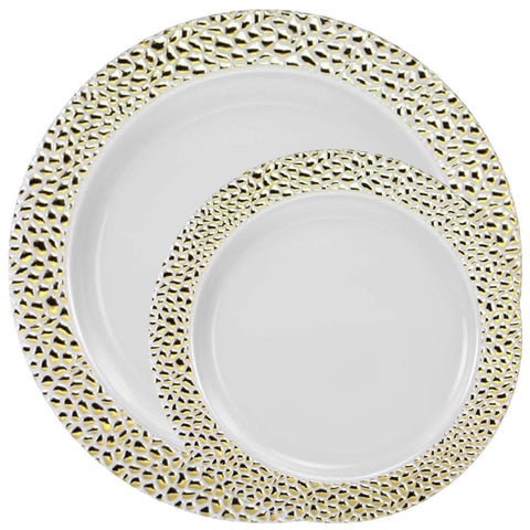 PEBBLED COLLECTIONS GOLD PLASTIC TABLEWARE PACKAGE - OnlyOneStopShop