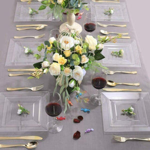 Lillian Tablesettings Square Plastic Dinner Plates Clear 10.75""