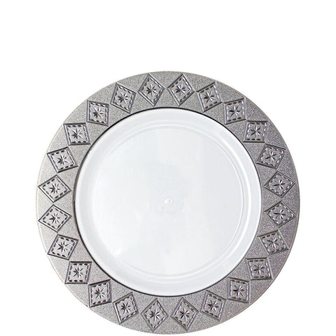 "Imperial Crushed Plastic Salad Plates 7"" White Silver 10Ct"