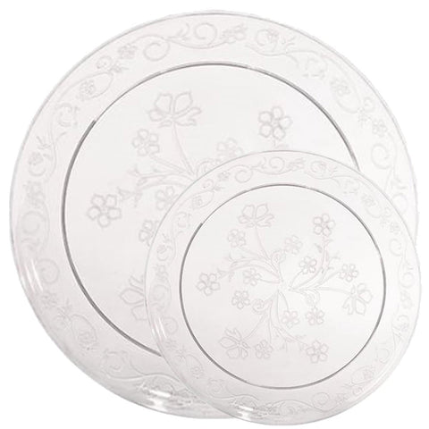 D'VINE COLLECTION ELEGANT CLEAR PLASTIC TABLEWARE PACKAGE - OnlyOneStopShop