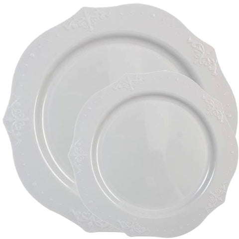 ANTIQUE COLLECTION ELEGANT WHITE PLASTIC TABLEWARE PACKAGE - OnlyOneStopShop
