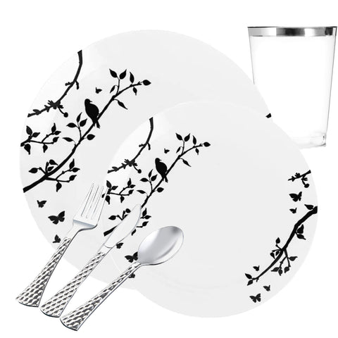 INSPIRATION COLLECTIONS WHITE LACE SILVER PLASTIC TABLEWARE PACKAGE