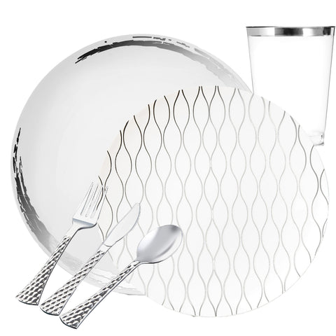 CRYSTAL COLLECTIONS WHITE LACE SILVER PLASTIC TABLEWARE PACKAGE - OnlyOneStopShop