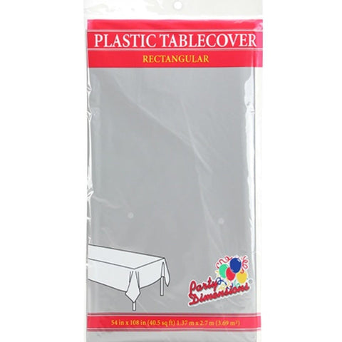 Tablecover Plastic Silver Rectangular  54'' X 108''