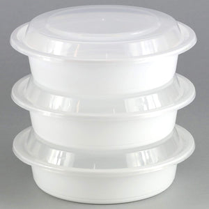 "Extra Strong Quality Microwaveable Round Containers White 9"" 48 oz 3Ct"