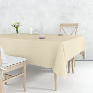 "Disposable Plastic Premium Tablecloth Heavyweight Rectangle Ivory 54"" x 108"""