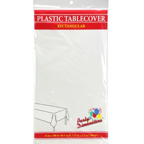 Tablecover Plastic White Rectangular  54'' X 108''