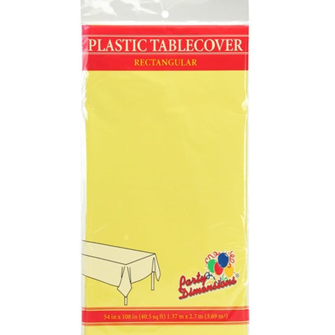 Tablecover Plastic Yellow Rectangular  54'' X 108''