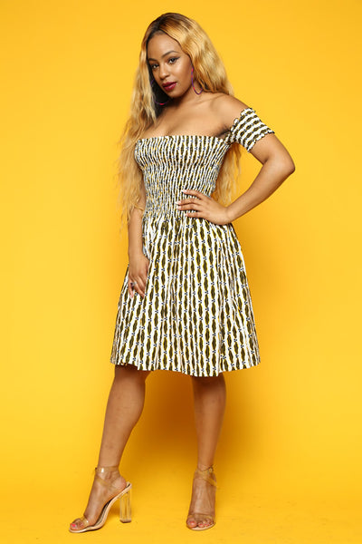 ONE OFF White and Yellow Meadow Midi Dress