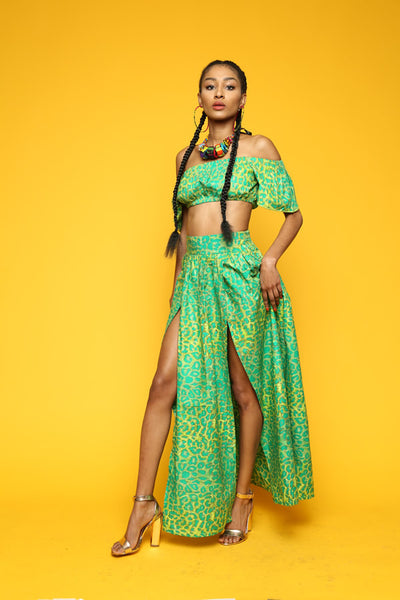 ONE OFF Green Leopard Two Piece Maxi Set