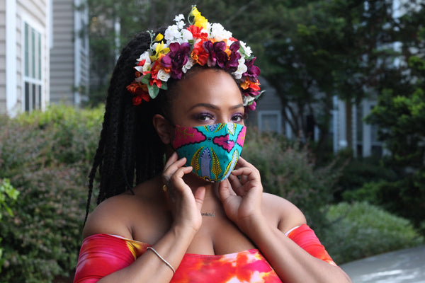 Archel's Birthday Bling Reversible African Cloth Mask!