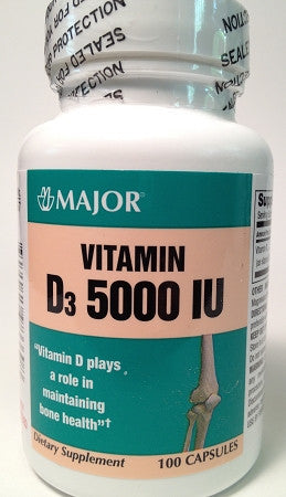 Major Pharm Vitamin D3 5000IU, 100 Capsules