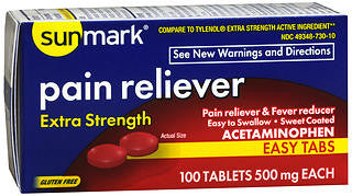 Sunmark Extra Strength Pain Reliever 500mg, 100 tablets