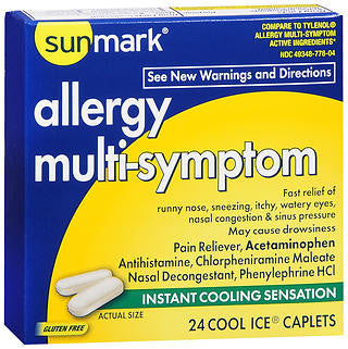 Sunmark Allergy Multi-Symptom, 24 cool ice caplets