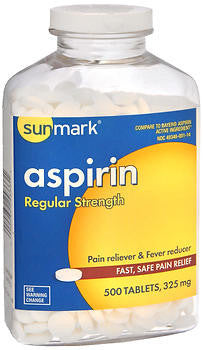 Sunmark Aspirin 325mg, Regular Strength, 500 tablets