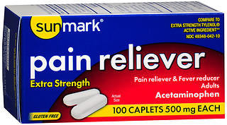 Sunmark Pain Reliever 500mg, 100 caplets
