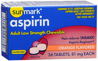 Sunmark Aspirin, Adult Low Strength, 81mg Chewable Tablets, Orange Flavored, 36 ea