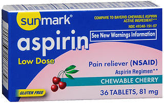 Sunmark Aspirin, Adult Low Strength, 81mg Chewable Tablets, Cherry Flavored, 36 ea