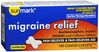 Sunmark Migraine Relief & Pain Reliever, 100 coated caplets