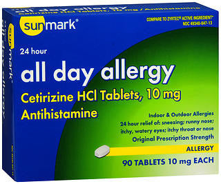 Sunmark 24HR All Day Allergy 10mg, 90 tablets