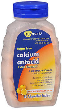 Sunmark  Sugar Free Extra Strength Calcium Antacid, Orange Creme, 80 Chewable Tablets
