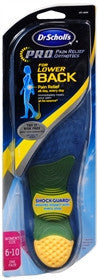 Dr. Scholls PRO Pain Relief Orthotics Lower Back Cushions, Women's 6 -10