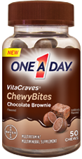 One A Day Vitacraves ChewyBites, Chocolate Brownie, 50 bites