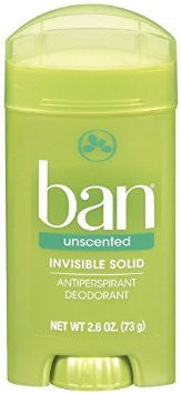 Ban Antiperspirant Deodorant, Invisible Solid Unscented, 2.6 oz