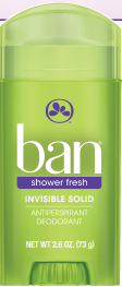 Ban Antiperspirant Deodorant, Invisible Solid, Shower Fresh, 2.6 oz