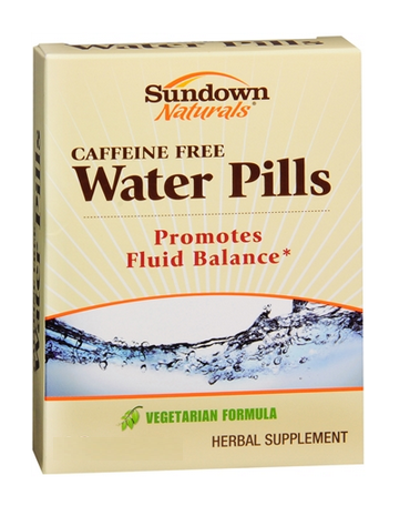 Sundown Natural Water Pills,  Caffeine Free, 30 tablets