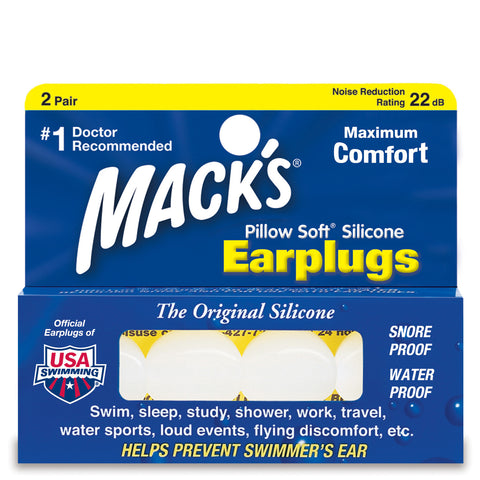 Macks Pillow Soft Silicone Earplugs, 2 pair