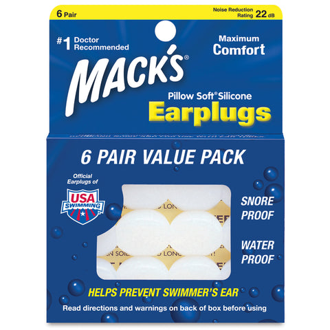 Macks Pillow Soft Silicone Earplugs, 6 pair